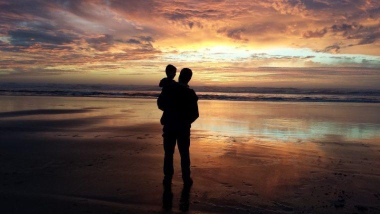 father-son-grandson-man-child-sunset-beach-water